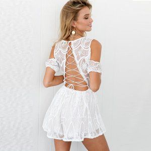 Pants - Lace up back romper playsuit embroidered white